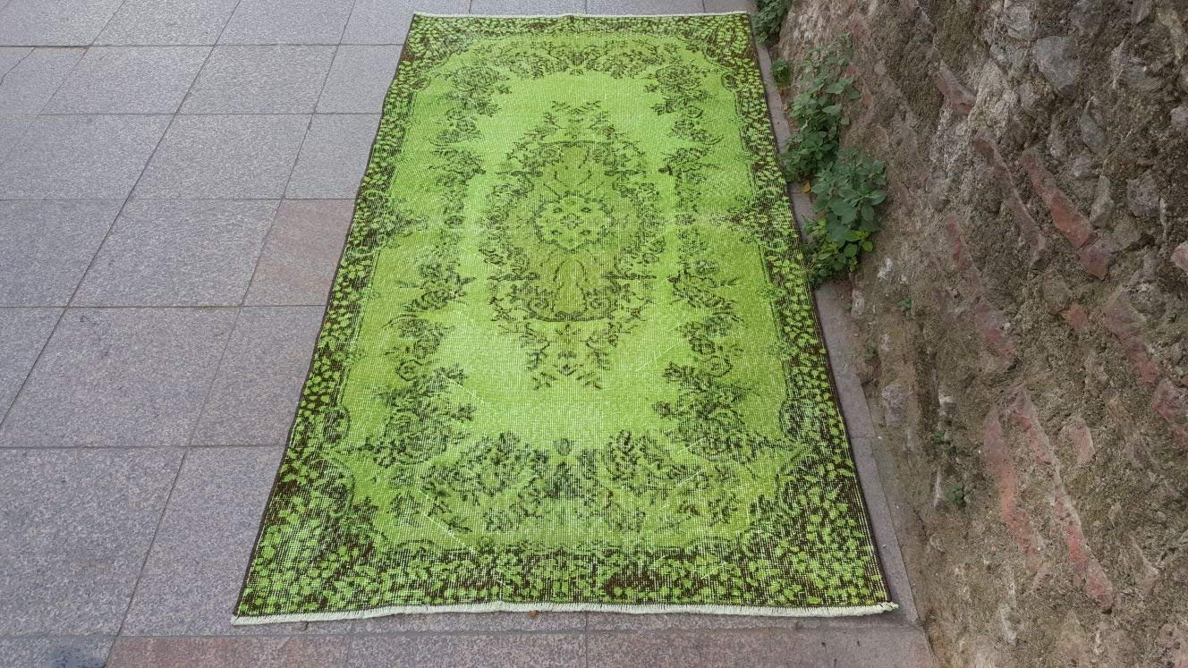 3.10x7.1 Feet Vintage Overdyed Carpet Green Overdyed Rug Green And Brown Handmade Rug Ethnic And Contemporary Handwoven Carpet.Code:B886