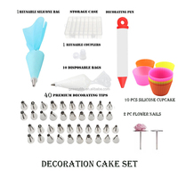 Cake Decorating tips Kits 40Icing Tips+ 2 Icing Flower Nails + 1 Couplers+ 1 TPU Bags+ 1 Pastry Pen+ 10 silicone cupcake stamps