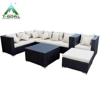 Outdoor Patio Furniture Sectional PE Rattan Sofa Set for Living Room Balcony Outdoor Garden with Cushion