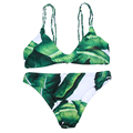 Sexy Women Low Cut Push Up Bikini Brazilian Palm Leaf Printed Swimsuit Beachwear Female Strappy Swimwear