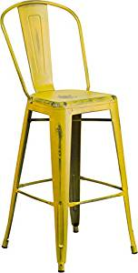 (Ship from USA) 30'' High Distressed Yellow Metal Indoor Barstool with Back [ET-3534-30-YL-GG] /ITEM#H3NG UE-EW23D251121