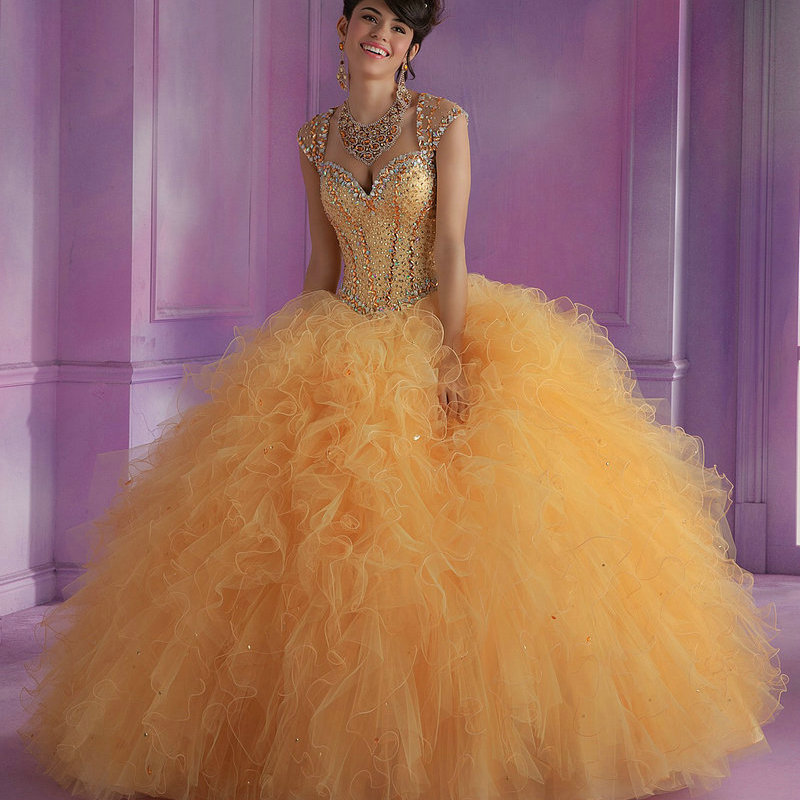 Gold Quinceanera Dresses Ball Gowns Cap Sleeve Organza ...