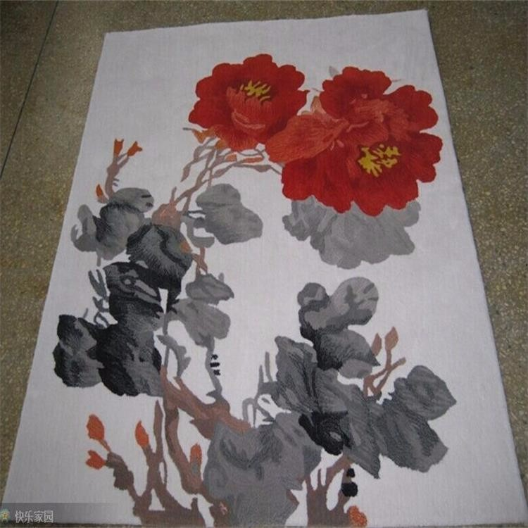 Chinese style handmade carved wool art rug