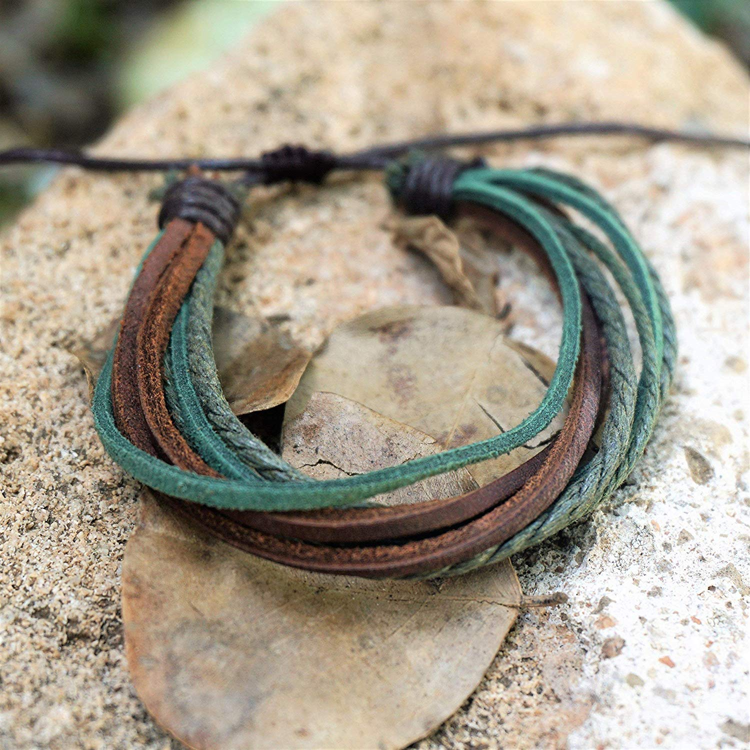 BARBARI Jewelry Leather Cords Bracelet | Handmade Gift for Him and Her! High Quality Handmade Green and Brown Genuine Leather Wristband, Wrap Cords Bracelet