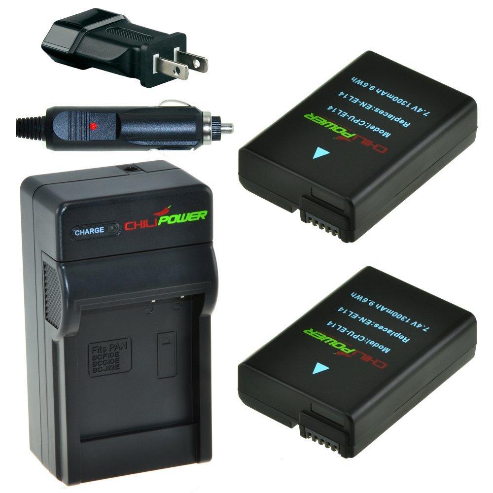 ChiliPower EN-EL14, EN-EL14a 1300mAh Battery 2-Pack + Charger (US Plug) for Nikon Coolpix P7000, P7100, P7700, P7800, DSLR D3100, D3200, D5100, D5200, D5300, Nikon Df