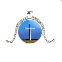 OEM 3d Jesus cross crystal alloy glass pendant necklace jewelry