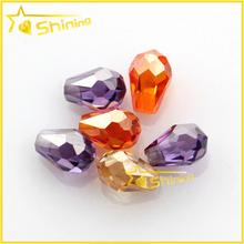 colored faceted teardrop shape cubic zirconia gemstone beads