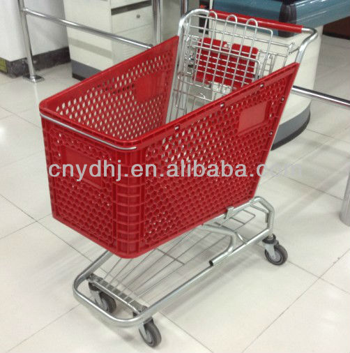 YD-E Colorful Supermarket Plastic Shopping Trolley Cart for Sale with Good quality Direct from Factory