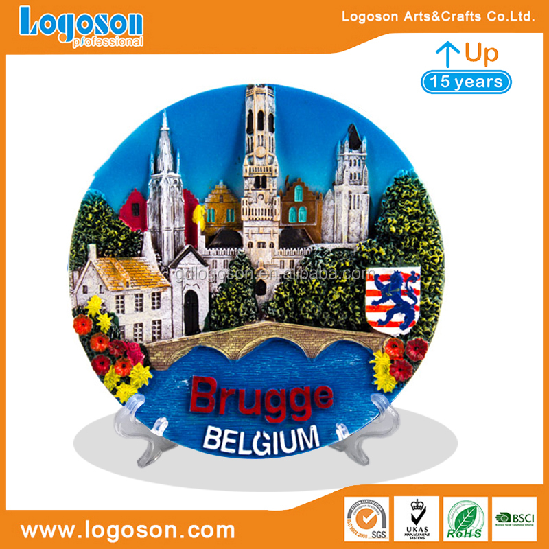 Resin Wall Souvenir Plate Belgium Souvenir Plate Brugge Ceramic Fridge Magnet Resin 3D Fridge Magnets Belgium Souvenir