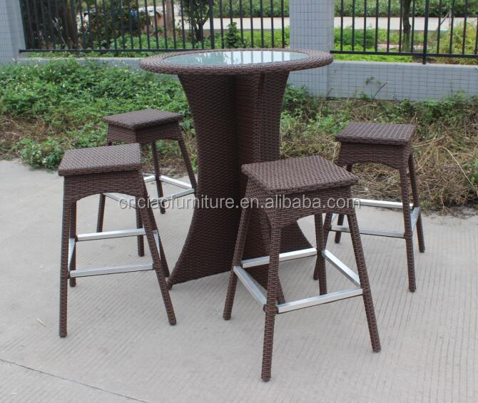 Garden Furniture Poly Rattan Bar Set Wicker Round Tall Table And