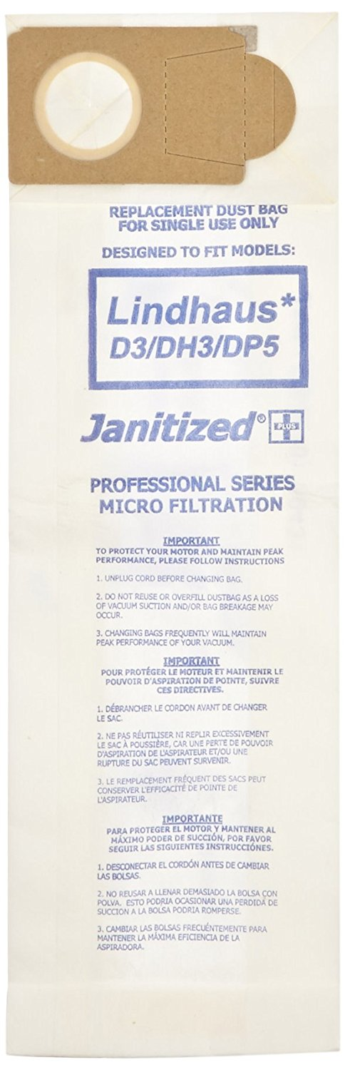 Janitized JAN-LD3-2(10) Premium Replacement Commercial Vacuum Paper Bag For Lindhaus D3/DP3/DP5 Evolution/DH3/DP5 Hepa & Valzer HEPA Vacuum Cleaners (10 - 10 packs)