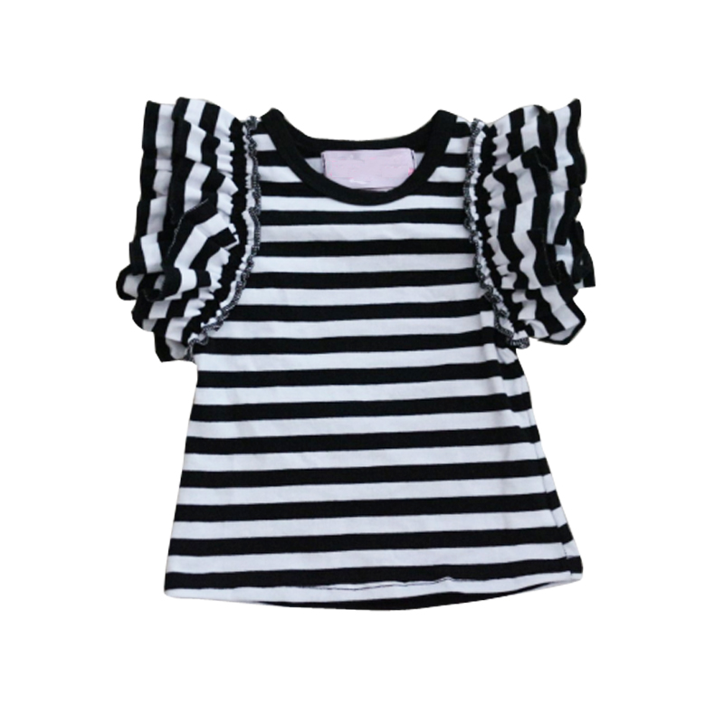 Baby Girls black and white Striped Knit Tops Toddler Kids short Sleeve  Cotton T Shirt Ruffle Child Clothes For 2-16 Yrs 8939a12e9
