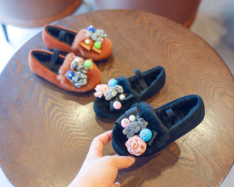 Exquisite kids girls loafers applique flower bear espadrilles ... 9f3103ed04f2