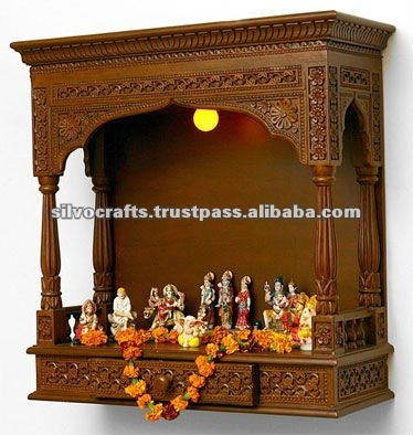Wooden Hand Carved Wall Hanging Temple Carved Furniture From India