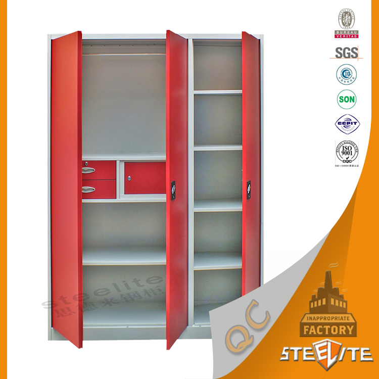 Knock down style different colour steel almirah clothes for Cloth cabinet design