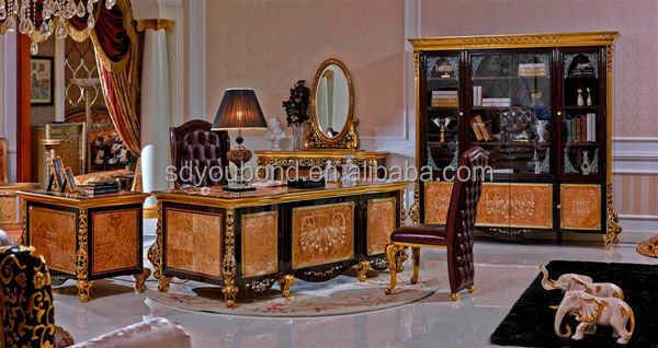 luxury home office 0061 high quality italy wooden carved study room furniture luxury