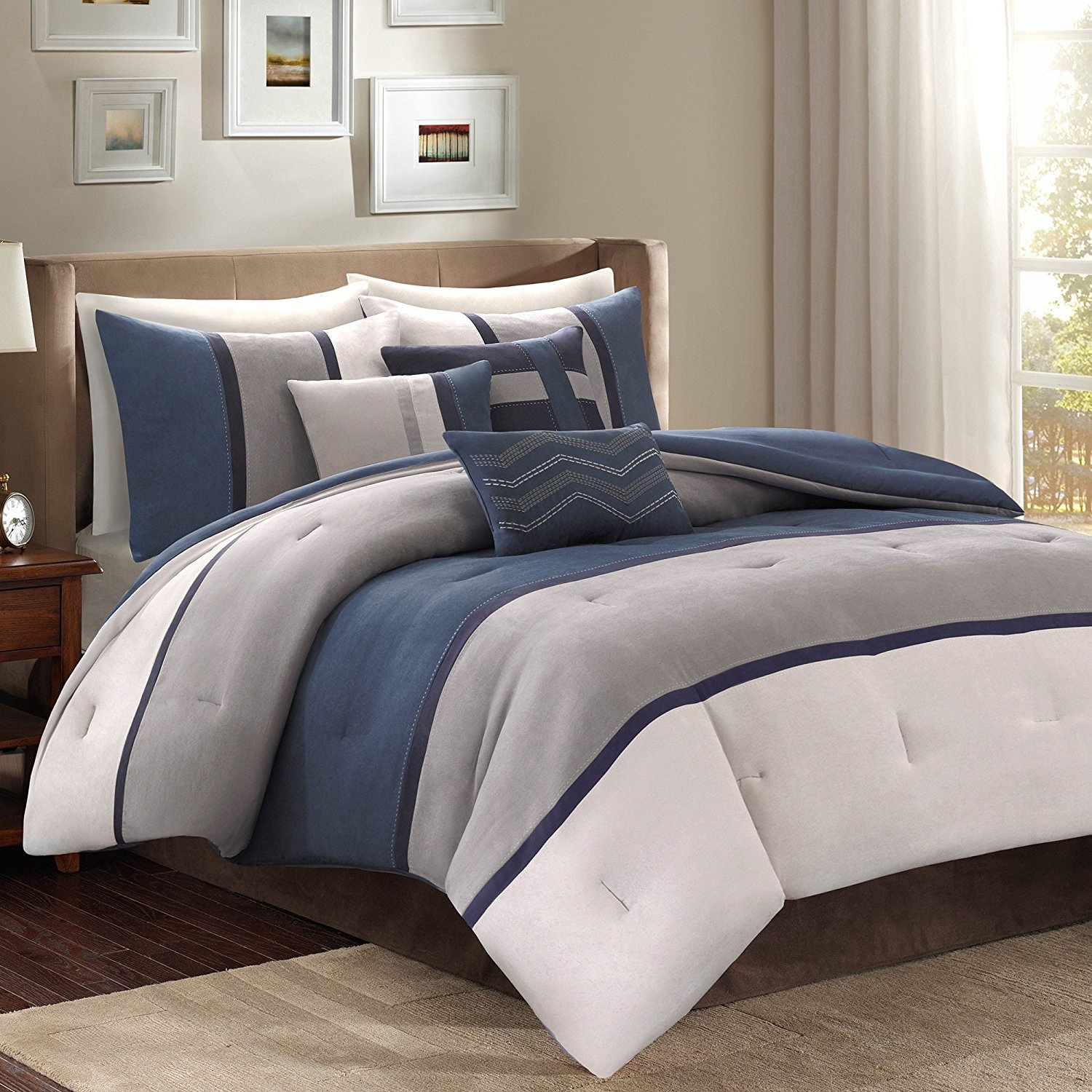 D&H 7 Piece Navy Blue Grey Striped Comforter Queen Set, Blue Beige Color Block Adult Bedding Master Bedroom Stylish Patchwork Pattern Elegant Themed Traditional, Polyester Stripe