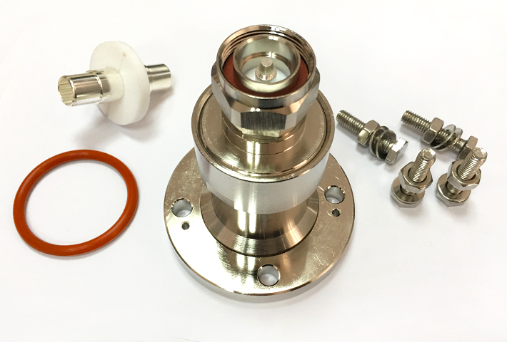 Electrical RF Coaxial adapter terminals 3-1/8 EIA flange to N male plug adapter EIA to N adaptor