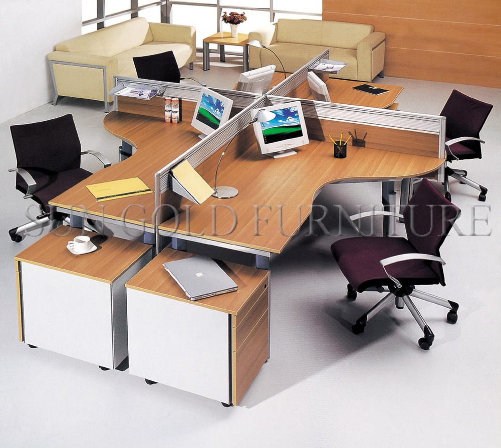 Office Table For 4 Person: Round Type Modern Office Workstation For 4 People (sz