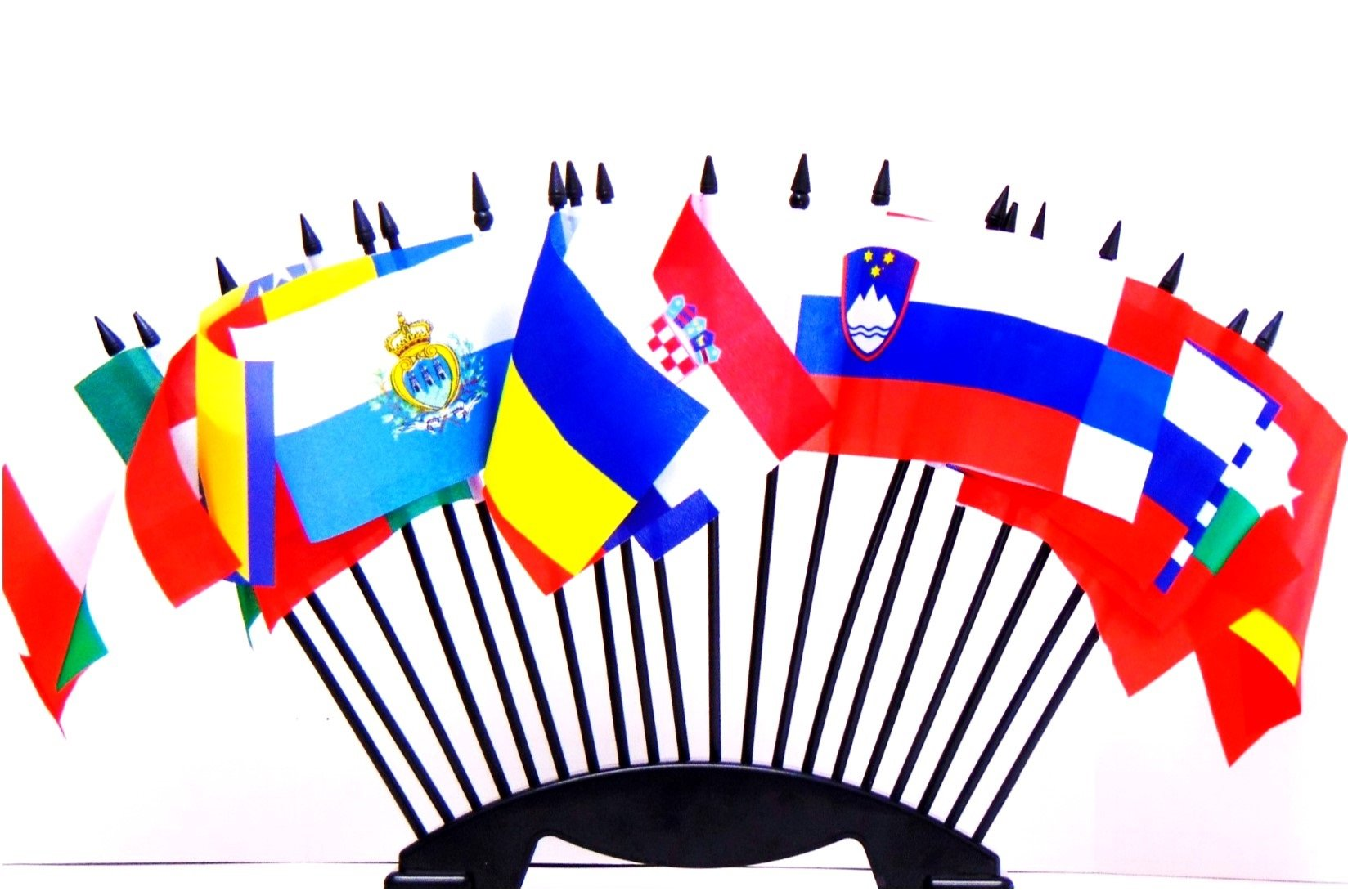 """SOUTHEAST EUROPE WORLD FLAG SET with BASE--20 Polyester 4""""x6"""" Flags, One Flag for Each Country in Southeast Europe, 4x6 Miniature Desk & Table Flags, Small Mini Stick Flags"""