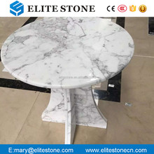 bullnose white marble table top with base
