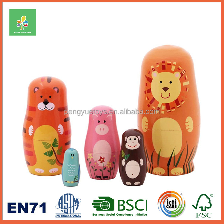 Animal design nesting wood doll for kids gifts