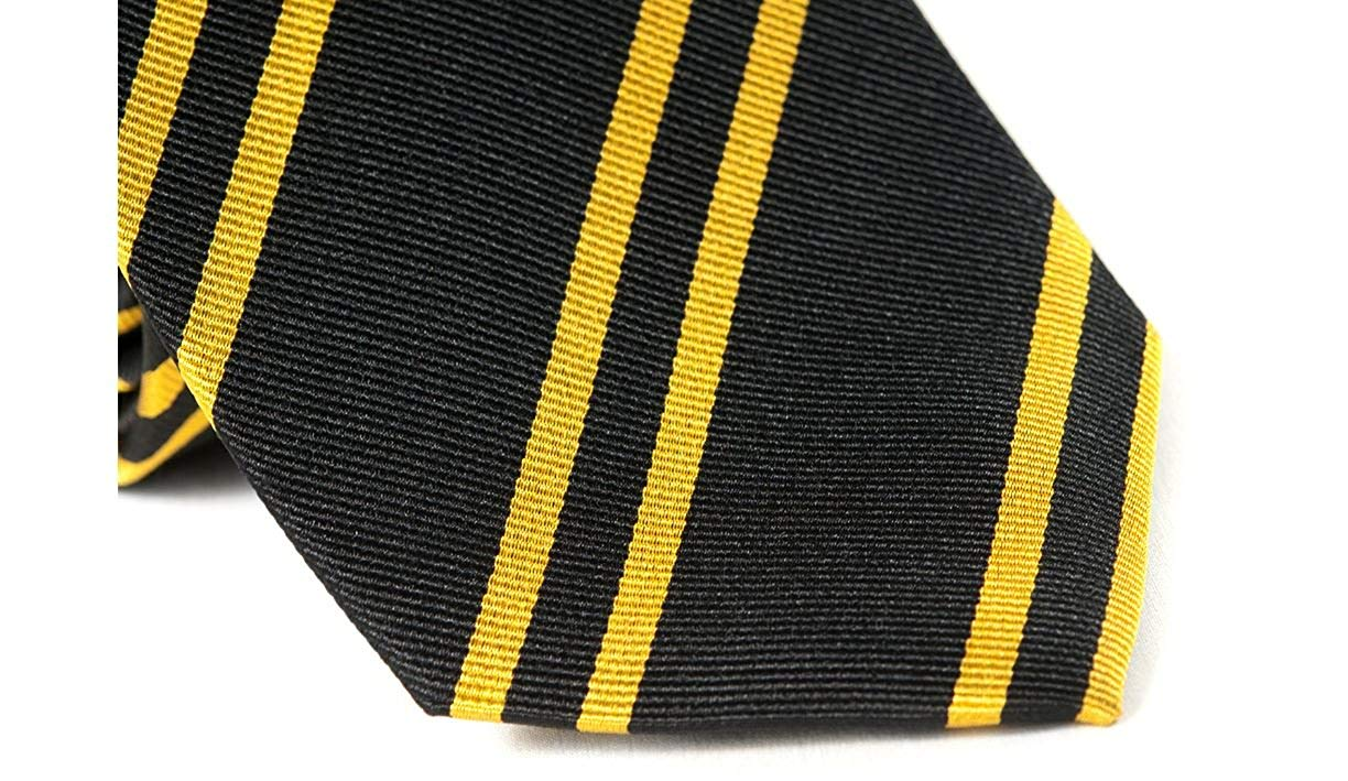 Tie Classic Black And Yellow Striped Silk Ties K&A Company