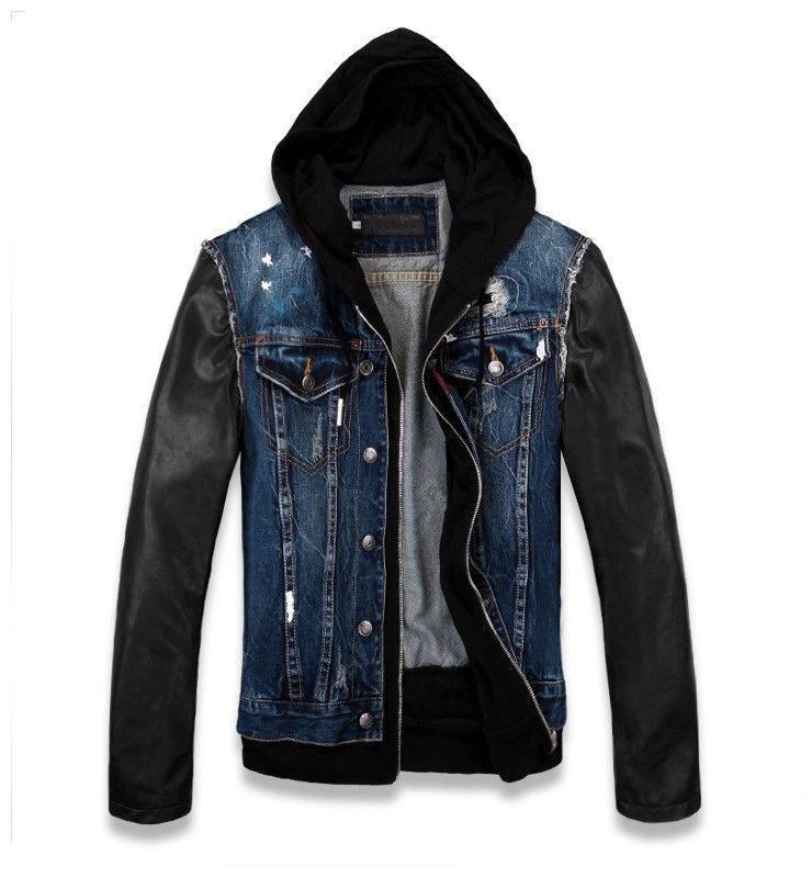 Mens Black Denim Jacket Leather Sleeves India Buy Mens Black Denim