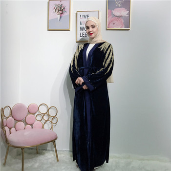 Latest high quality velvet open abaya with pearl fashion style muslim women front open abaya