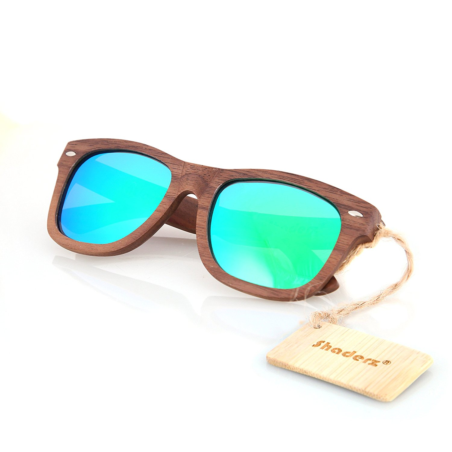 817eb67af5b Get Quotations · Walnut Wood Wooden Polarized Sunglasses Natural Floating  Light Frames W Pouch