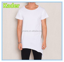 Asymmetrical long hem plain white t-shirt for men,long tail t shirt