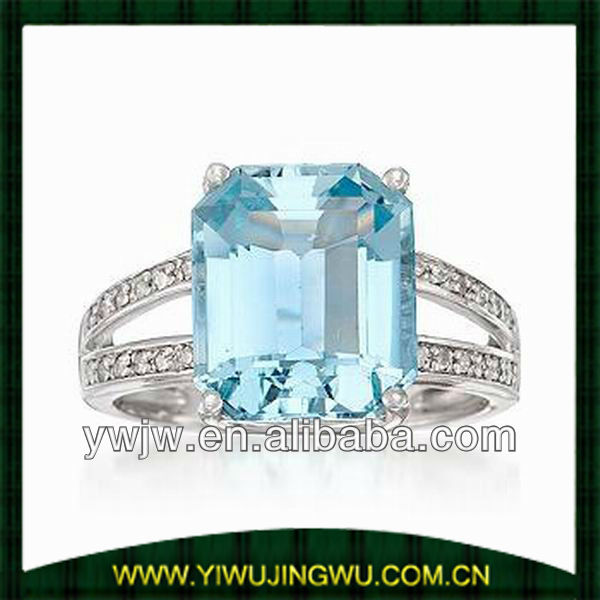 Aquamarine Diamond Ring In 14kt White Gold (jw-g5603)