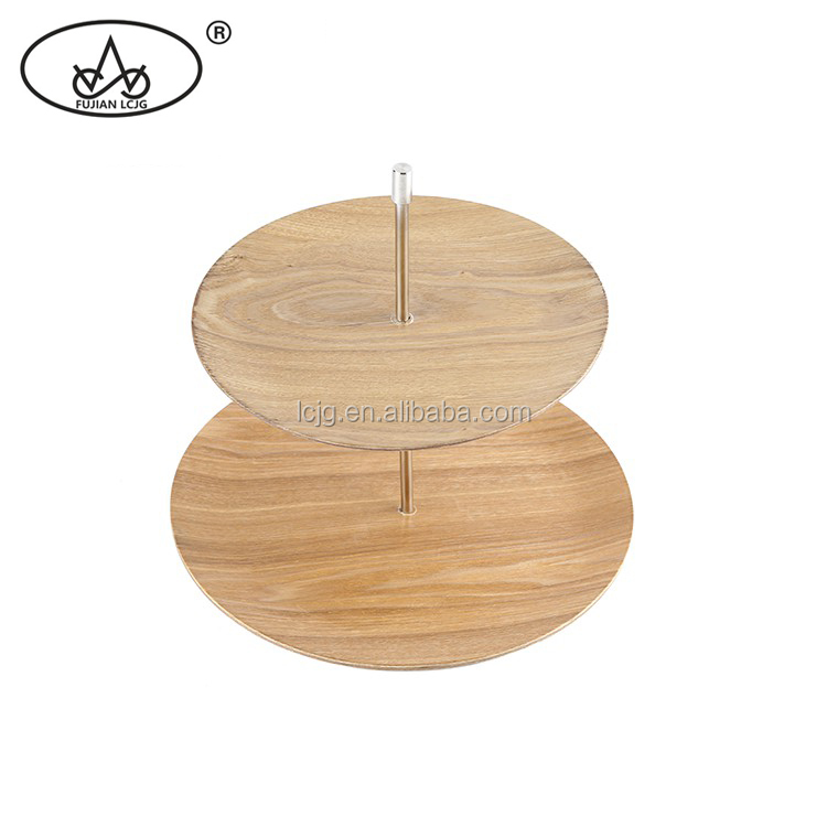 Super environmental fancy wooden 2 tier cake stand set