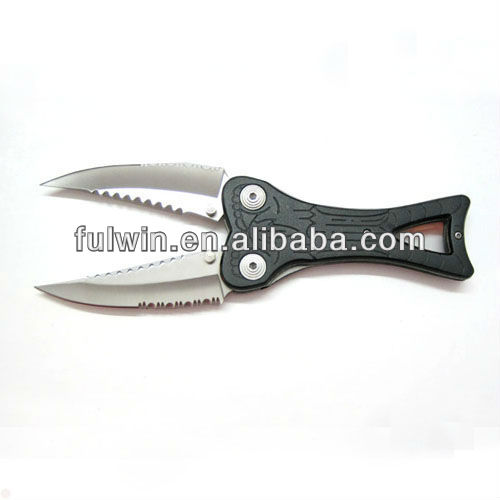 Cute stainless steel two serrated blade pocket knife