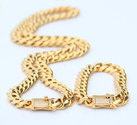 Stock Sale 12mm Men New Gold Necklace Designs Heavy PVD Gold Cuban Link Chain Jewelry