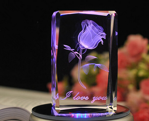 2014 Hot Selling Christmas Gifts Crystal Cube 3D Laser Engraving Rose Birthday Gift