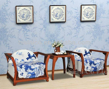 Chinese Furniture Living Room Wood Frame Sofa Set, Natural Wooden Sofa W  Seat Cushion, Part 94