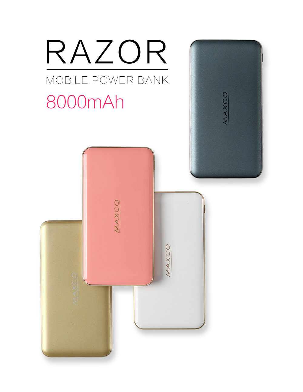 Maxco fast charging power bank 8000mah for mobile phone