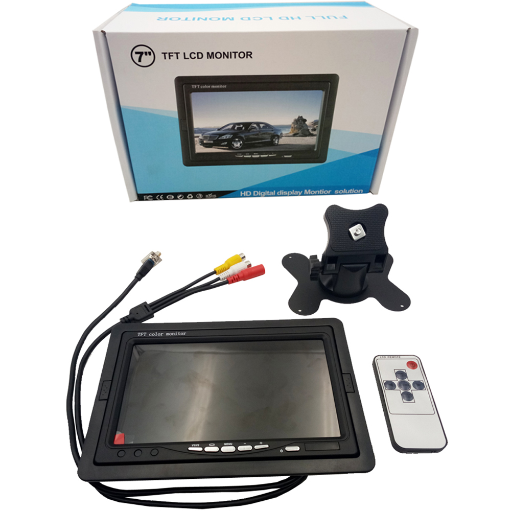 "7"" TFT LCD Color 2 Video AV Input Car RearView Headrest Monitor DVD VCR Monitor With Remote and Stand & Support Rotating The Scr"