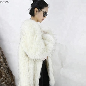Long Fur Knitted White Hair Black Tip Women Faux Fox Fur Coat