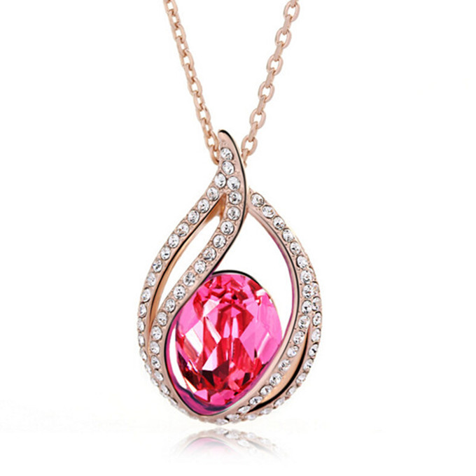 Lovely Pink Crystal Diamonds Women Silver Cheap Simple Girls Necklace Charms