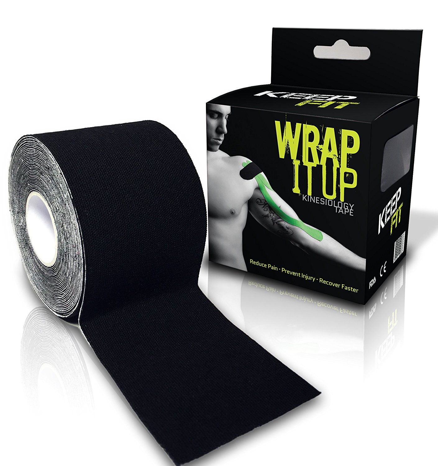 Kinesiology Tape Plus FREE eTaping Guide Wrap-It-Up with Premium Athletic Performance Tape, Advanced Adhesive, Water Resistant, and Highly Durable - Latest Adhesive Technology - Pro grade 2 in. x 16.4 ft. Uncut Roll Perfect for any Athlete or Therapeutic Needs. Crossfit Tested and Approved © 2014