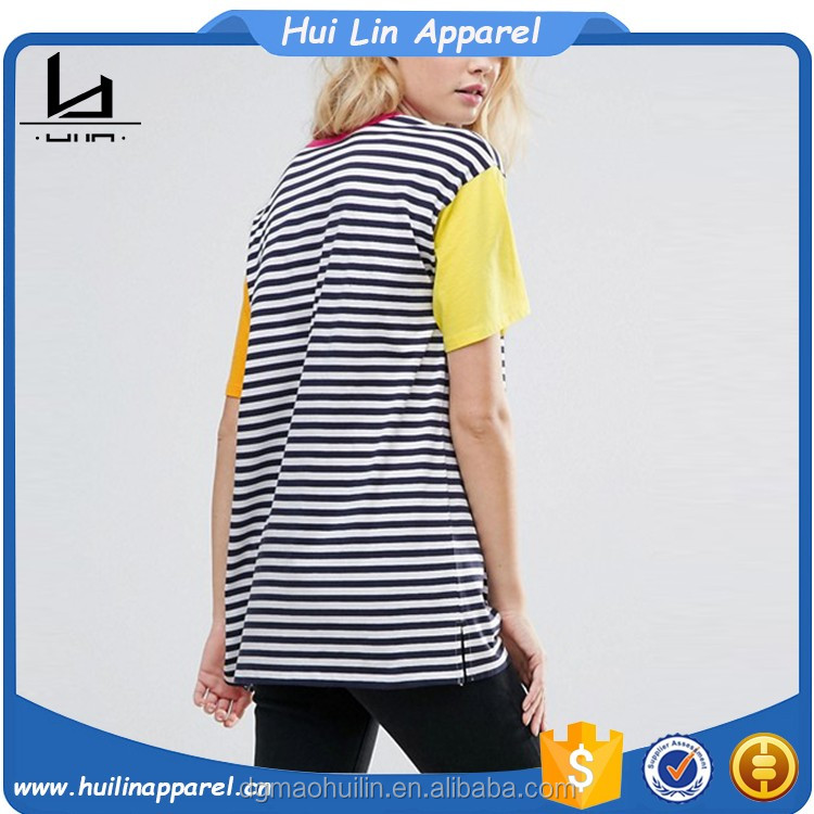 2017 hot new products women summer wear cut about color block blank striped t-shirts