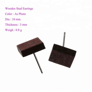 2018 Fashion Square Rectangle Wooden Stud Earrings Women Natural Vintage Wood Jewelry Earrings