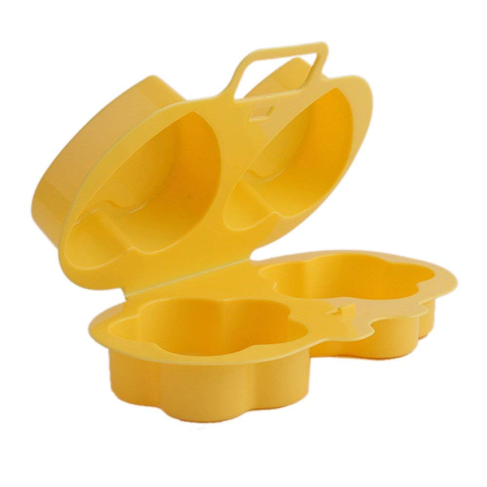 Awesomes Microwave Egg Poacher Steamer Kitchen Gadget Cooker Heart&Flower Shape Egg Tools (yellow)
