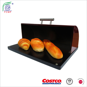 Colorful stainless steel bread box, bread storage/bread bin with rubber wooden base