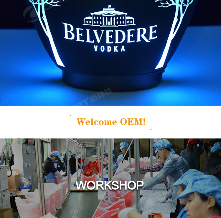 2020 new 8L acrylic plastic beer champagne wine spirit LED light up ice bucket for Vodka