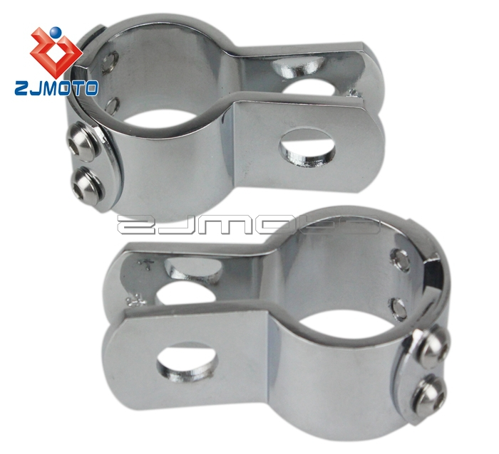 "ZJMOTO 1 1/8"" Footpeg Clamps Cross Bones Rocker Killer Trike Chrome Billet Footrest  Custom"