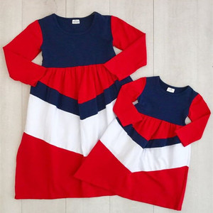 Popular 4th of July baby dress best selling wholesale clothing boutique girl 4th of july dress for Mom and me