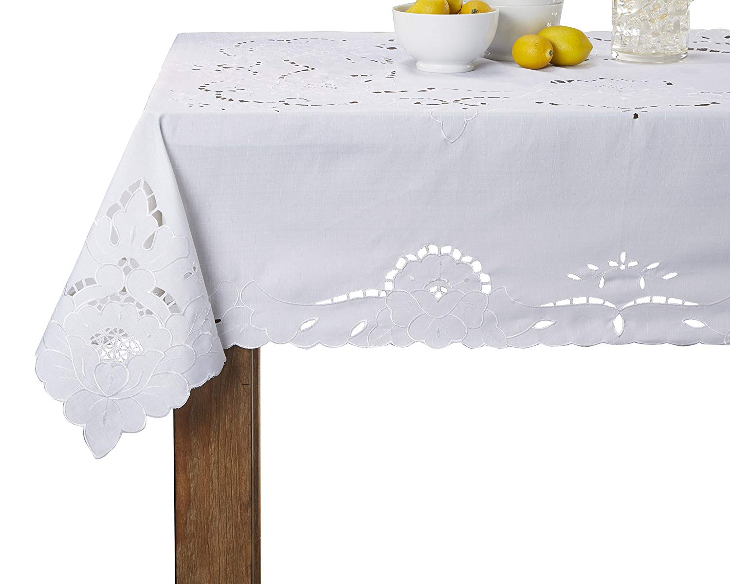 """Violet Linen Sapphire Embroidered Design Tablecloth, 60"""" Round, White"""